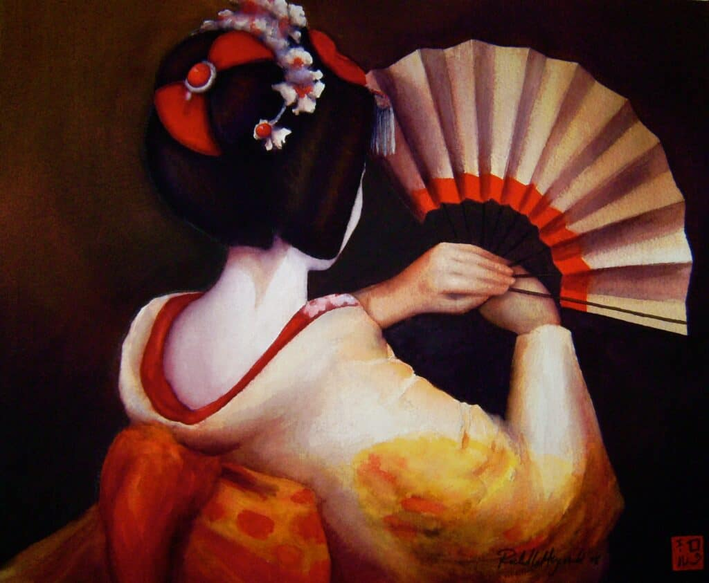 Maiko with Fan - Rochelle Heywood