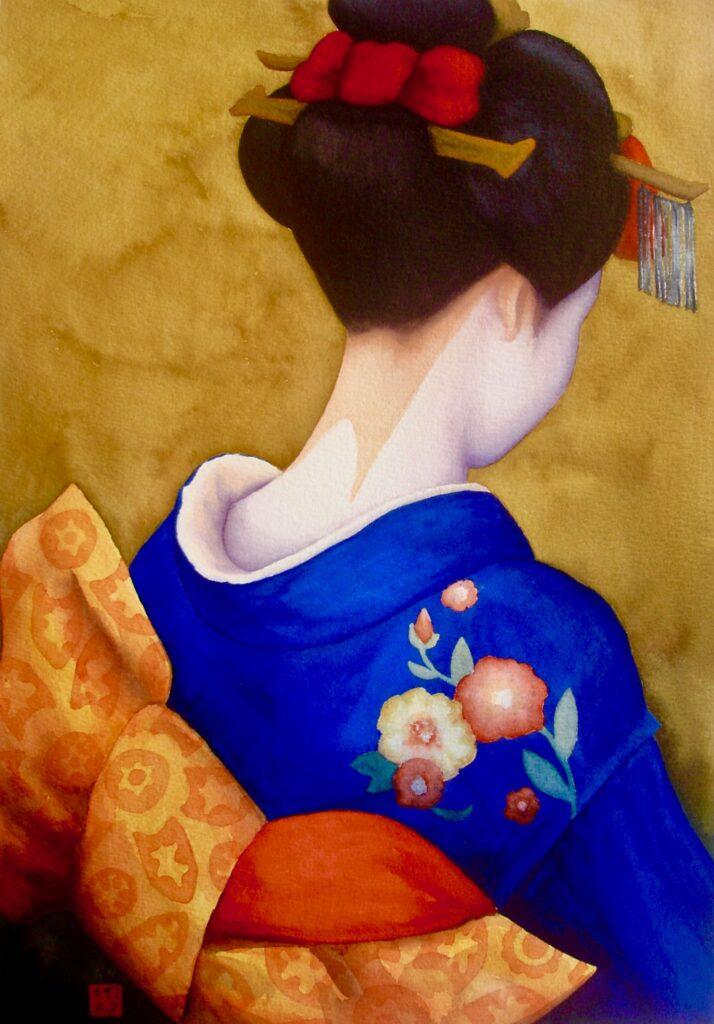 Blue Kimono Orange Obi - Rochelle Heywood