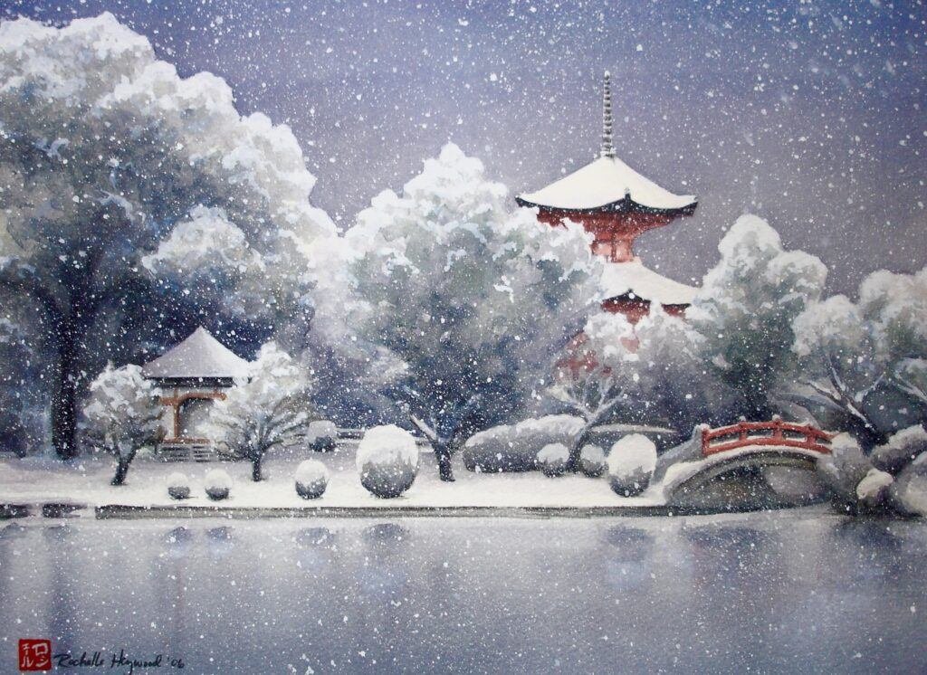 Falling Snow on Red Pagoda - Rochelle Heywood