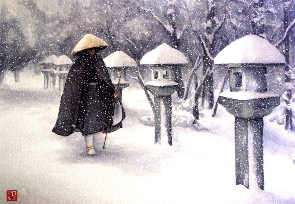 Monk and Lanterns - Rochelle Heywood