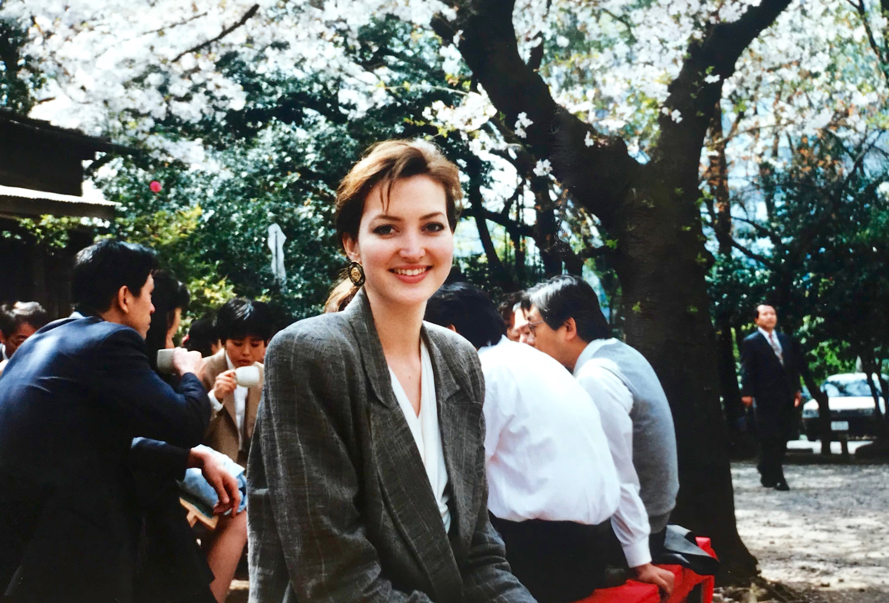 Lunch under the sakura trees, photo taken by a coworker circa 1994