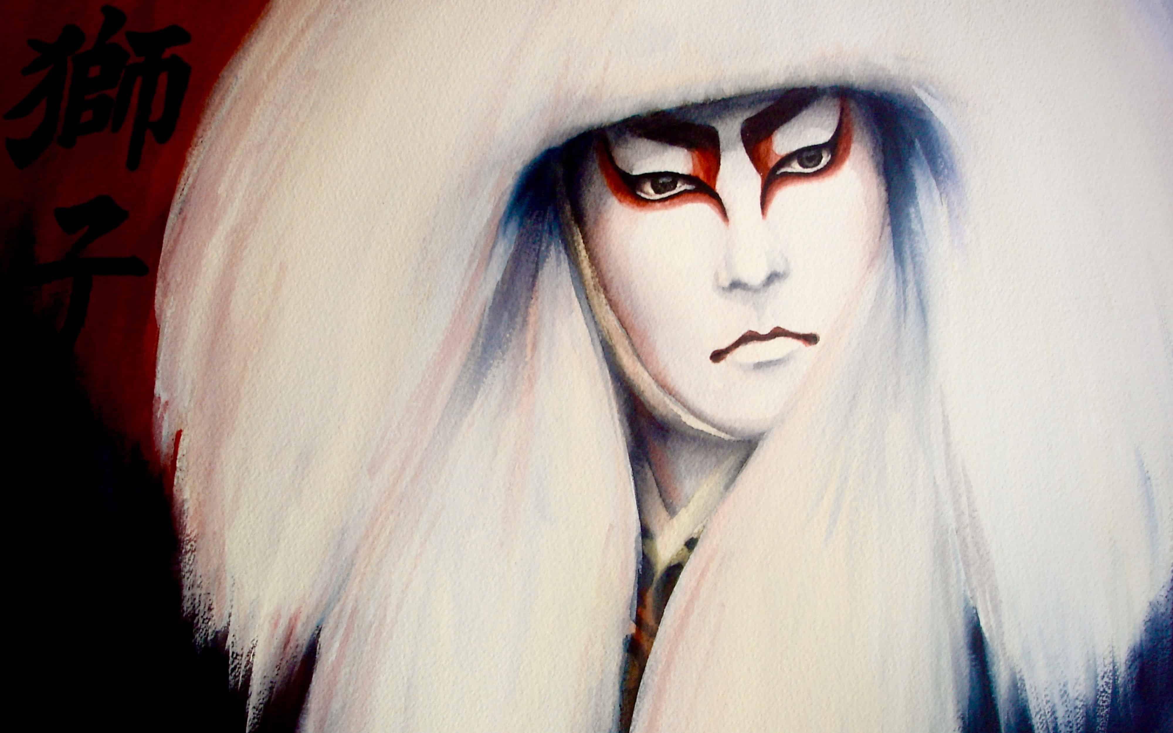 White Kabuki Lion - Rochelle Heywood